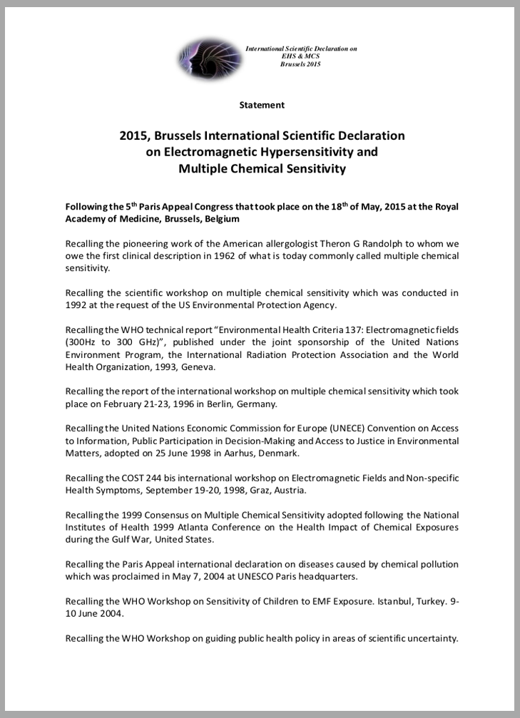 2015, Brussels International Scientific Declaration on Electromagnetic Hypersensitivity and Multiple Chemical Sensitivity