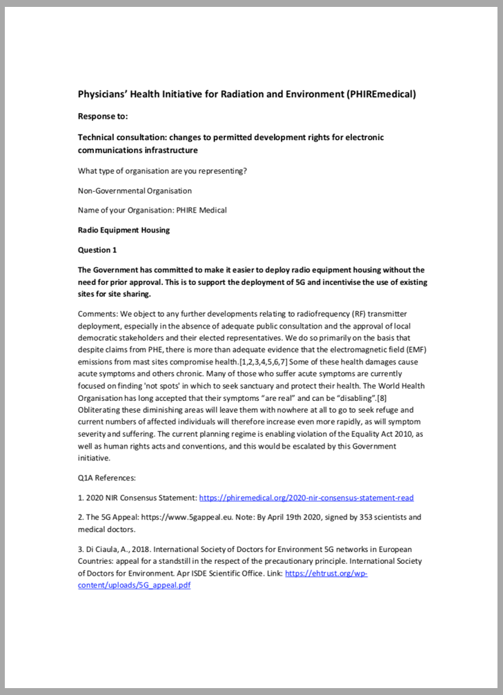 PHIRE response to Technical Consultation June 2021